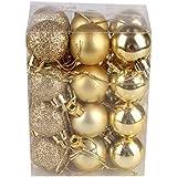 AMUSTER Lot de 24 Boules de Noël en Forme de Sapin de Noël avec pendentifs Tendance et Brillants