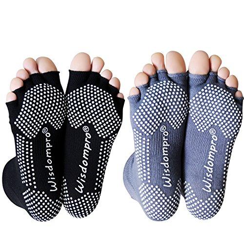 Wisdompro Donna 2 paia toeless metà punta calzini di yoga con anti slip grip per & piccolo medio nero + grigio