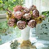 HuntGold Bouquet de pivoines artificielles en soie pour réception de mariage Camaïeu