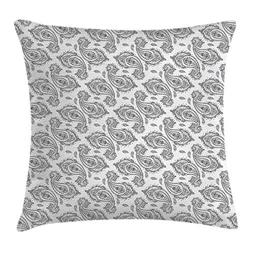 Euro Paisley Kissen Sham (Paisley Throw Pillow Cushion Cover, Modern Tribal Inspired Design with Flower and Ornamental Shaped Work of Art, Decorative Square Accent Pillow Case, 18 X 18 Inches, Black and White)