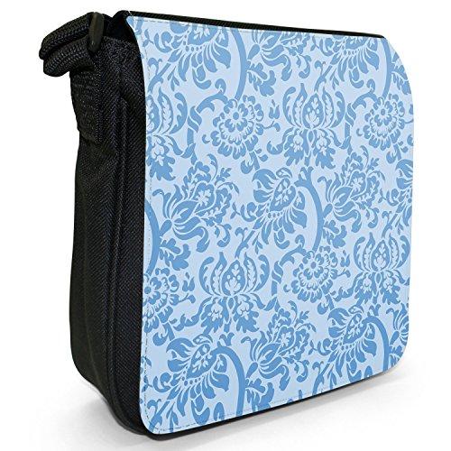 Carta da parati con motivo floreale, Design Piccolo Nero Tela Borsa a tracolla, taglia S Blue Floral Wallpaper Design