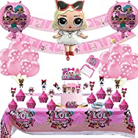 LOL Party Supplies Set Birthday Party Decoration Set LOL Theme Birthday Party Include Balloons, Banner, Cake Toppers, Cupcake Toppers by Akally