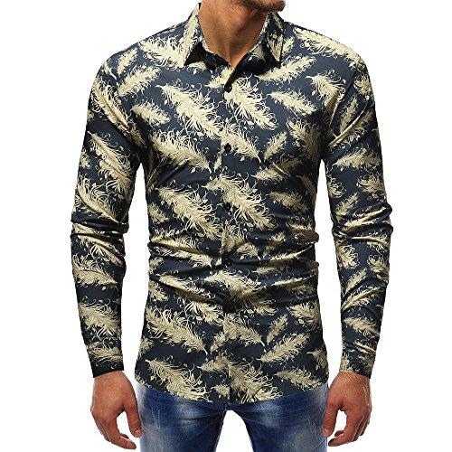 Herren Retro Blumen Gedruckt Bluse Lässige Langarm Slim Shirts Tops
