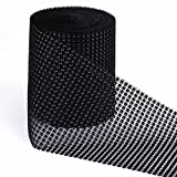 Vlovelife 10 Yards Black Diamond Diamante Mesh Rhinestone Ribbon Roll Crystal Wedding Wrap Glitter Bling Diaper Cake Ribbon 24 Rows 11.5cm Wide