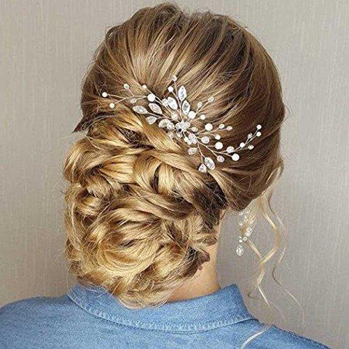 Simsly– Hochzeits-Haarschmuck, Haarnadeln, Brautschmuck, Accessoires, Kristall für Braut und Brautjungfer (Silber), FS-28