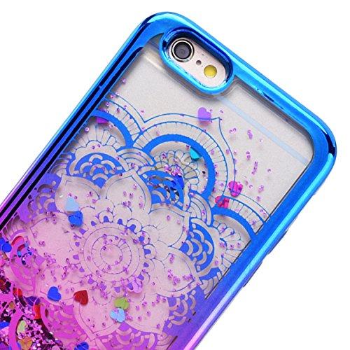 GrandEver iPhone 6S Plus Glitzer Hülle, iPhone 6 Plus Weiche Silikon Handyhülle Gel Bling TPU Bumper Liquid Fließen Flüssigkeit und Electroplate Schutzhülle für iPhone 6 Plus/iPhone 6S Plus Rückschale Mandala