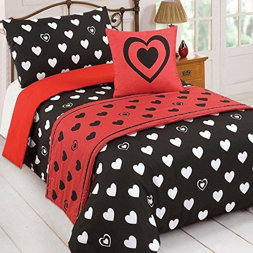 Just Contempo Herzen 5-teiliges Bett in einer Tasche Bettwäsche-Set, Doppelbett, Schwarz, Polyester, schwarz, Einzelbett (Queen Shabby Chic Duvet)