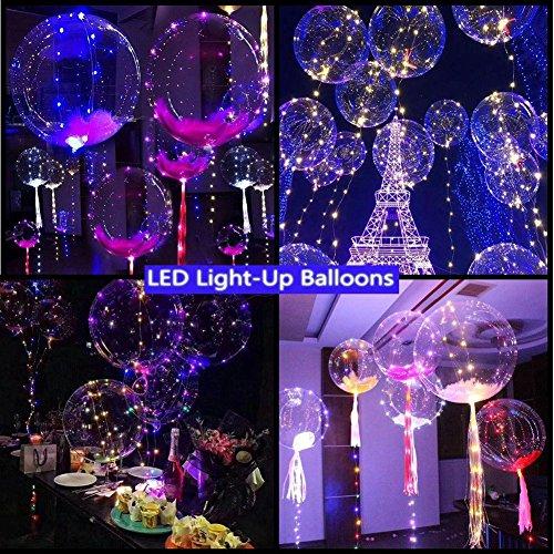 LED leuchtende Luftballons, Chickwin Blinkendes Licht Gemischte Farbe für Weihnachten Geburtstag Halloween Christmas Hochzeit Party Dekor Latex Helium Ballons 3M (5pcs)