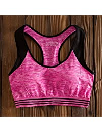ny Fitness A prueba de golpes Running Running Bra-chaleco-estilo Anillo no de acero Yoga Reúna Modelos Delgados Ropa interior ( Color : Rosa Roja , Tamaño : L )