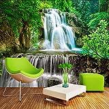 Murale 3D Carta da parati personalizzata Carta da parati Carta da parati 3D Foresta verde Cascata Paesaggio naturale Pittura Paglia non tessuta Carta da parati strutturata Murale-450X300cm