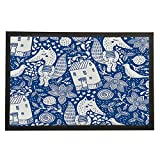 Zenobia Eugen Fox Motif Bleu et blanc Tapis de tapis de sol Tapis Intérieur/extérieur/Tapis de porte d'entrée de salle de bain/vinyle en caoutchouc antidérapant non tissé Mats-24x 40,6cm