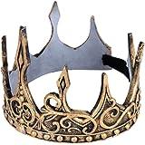 Holibanna corona de plata retro corona de príncipe suave tocado medieval pu para fiesta de disfraces de cosplay halloween (Or