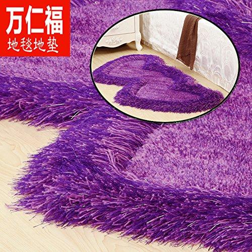 qwer 000 Yan Fu filo elastico mats soggiorno tavolino da letto letto letto l'avampiede doppio a forma di cuore red carpet shop matrimonio stanza piena ,0,7 m × 1,4 m, viola puro filo elastico + ultra-bright filamento