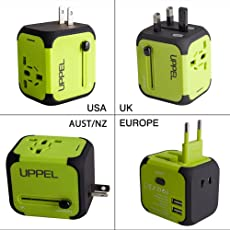 Universellen Reise-Adapter mit Doppel USB-Ports aus 150 Ländern weltweit US UK EU AU Universal fusionierten Sicherheit AC-in Einem Ladegerät (Green)