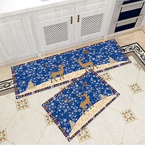 Tappetino antiscivolo, renna di natale in 3d con stampa, tappetino da cucina, tappetino da bagno, tappeto comodino per cameretta, 50x160cm + 50x80cm