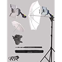 Sonia Studio Home 33 Umbrella Stand Setup with Sungun Adapter B-Bracket and Stand 4 Pc Set with Continuous/Video Light with 1000 Watt Halogen Tube