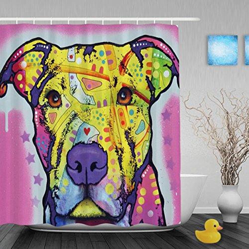 Cute Pitbull Serie Dusche Vorhänge Leichtigkeit Art Hund Badezimmer Dusche Vorhänge Funny Home Decor Tiere Badezimmer Vorhänge Wasserdicht Schimmelresistent Stoff 152,4x 182,9cm, Polyester, Multi5, 72