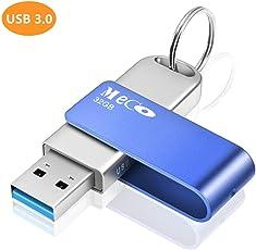 MECO ELEVERDE USB Stick 32GB, USB 3.0 Memory Stick Aluminium mit Schlüsselring Speicherstick USB Flash Drive für School, Büro und Home