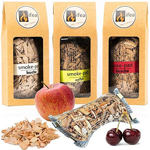 ifea Räucherchips Gasgrill in Edelstahlhülle - Buche Apfel und Kirsche Premium Qualität Smoken ohne Smokebox - Raucharoma Wood Chips BBQ Set Zubehör zum Grillen