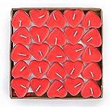 AOI 50 Candele Amore Galleggiante Senza Fumo Candele Romantico Moderno Rosso a Forma di Cuore