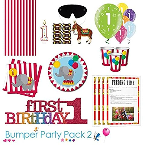 Circus Time 1st Birthday Party Tableware Bumper Pack 2 - comes with a FREE