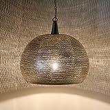 Marokkanische Hängelampe orientalische Deckenlampe in reiner Handarbeit hergestellte Pendelleuchte echt versilberte Orientlampe Tanta D32 für tolle Lichteffekte