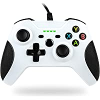 TechKen Wired Controller for Xbox one, PC Game Controllers Gamepad with Headset Jack (White)