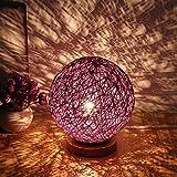 JMAHM JMAHM LED Rattan Tischlampe Nachtlicht USB-Schnittstelle für Kinder (Lila)