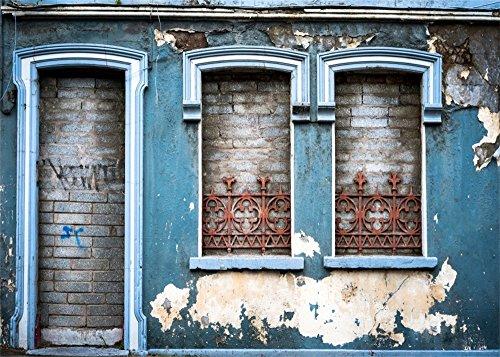 YongFoto 3x2m Shabby Chic Old House vorne Tür Hintergrund Peeling Beton Wand Rustikal Hintergründe für die Fotografie Grunge Brick Vinyl Foto Hintergrund Persönliche Porträts Studio Requisiten