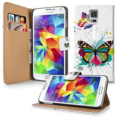 Apple iPhone 5 / 5s Handyhülle inklusive Displayfolie Keep Calm Carry ON 2x splash Schmetterlinge