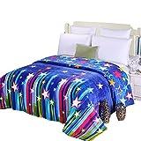 shinemoon blau Farbe Sterne weich Flanell Fleece Leicht Baby Boy Mädchen Wickeltücher Überwürfe für Bett Sofa Auto Sitz, Colorful Stars, 200x230cm