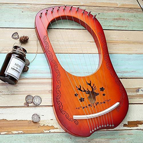 Tragbare 10 String Kleine Harfe, Mahagoni Lye Harfe, Leier Harfe Metallsaiten, mit Tragetasche, Stimmschlüssel, Streicher,Sunset,Reindeer