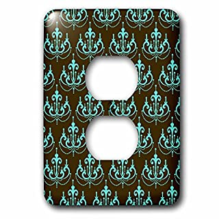 3dRose LLC LSP_116418_6 Elegant Aqua Blue Chandelier Damask on Brown Trendy Pattern 2 Plug Outlet Cover