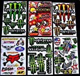 6 BLATT AUFKLEBER VINYL BM1M MOTOCROSS STICKERS BMX BIKE PRE CUT STICKER BOMB PACK METAL ROCKSTAR ENERGY SCOOTER