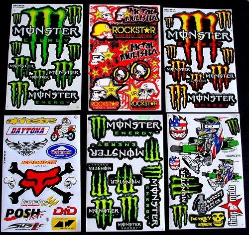 6 BLATT AUFKLEBER VINYL BM1M MOTOCROSS STICKERS BMX BIKE PRE CUT STICKER BOMB PACK METAL ROCKSTAR ENERGY SCOOTER (Bmx Bikes Games)