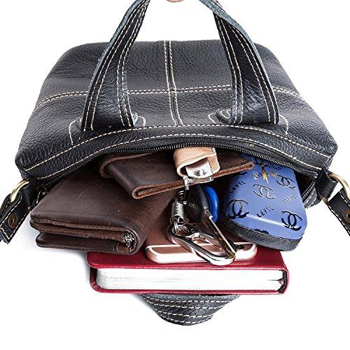 WTUS Damen Leder Wilden Umhängetasche Europäischen und Amerikanischen Mode Handtaschen Schwarz