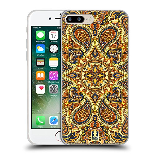 Head Case Designs Telefono Jazzy Vintage Cover Morbida In Gel Per Apple iPhone 7 / iPhone 8 Oro