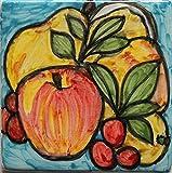 Frucht-Handgemachte Fliese,Größe cm10x10x1cm.Hergestellt in Italien Toskana Lucca,Zertifikat. erstellt von Davide Pacini