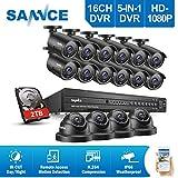 SANNCE Kit Sistema de seguridad TVI 16CH DVR 1080P y 16 cámaras metal de vigilancia(H.264 Onvif...