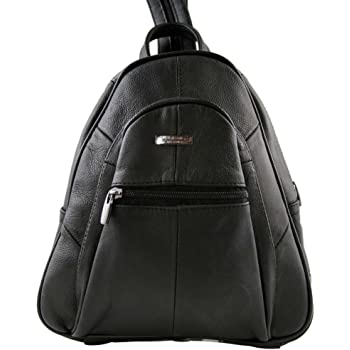 f3f240f02c LORENZ Small Leather Zip Round Backpack Day Bag Day Sack Rucksack Capacity  Approx. 4 litters - Various Colours (3748-BLACK)