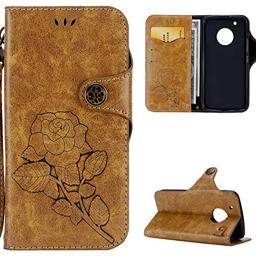 Custodia MOTO G5 Plus,Cover MOTO G5 Plus,Custodia Cover Per MOTO G5 Plus,KunyFond Vintage Series Di Lusso Leather PU Wallet Case Goffratura Roses Fiore Modello Portafoglio in Pelle Protettiva Custodia Cover con Magnetica Chiusura carte di credito Morbida Pu Portafoglio Cover Copertura avec Super Sottile Silicone Tpu Gel Case Shock-Absorption Anti-Scratch Custoida Supporto A Libro Bumper Protetiva Case Cover Copertura per MOTO G5 Plus-cach