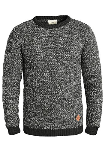REDEFINED REBEL Marston Herren Strickpullover Pullover aus 100% Baumwolle Meliert Black (1341)