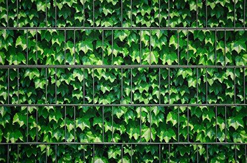 Zaunsichtschutz, Windschutz (30 versch. Motive) für Doppelstabmattenzaun *Weinblatt grün*...