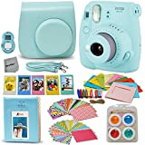 Fujifilm Instax Mini 9 Instant Camera ICE BLUE (NEW 2017 Release) + Accessories Kit / Bundle Includes: Mini 9 Case With Strap + Photo Album + Frames + 4 Color Filters + Large Selfie Mirror + MORE