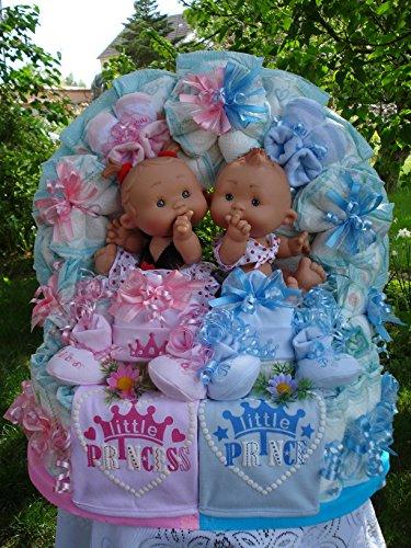 """XL Windeltorte Zwillinge""""Little Prince und Princess mit zwei Babypüppchen""""Geburt,Taufe,Hochzeit"""