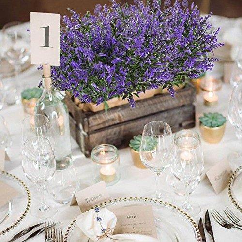 MIHOUNION 4 Pcs künstliche gefälschte Blumen Künstlicher Lavendel Kunstblumen Kunststoff Blumen grüne Pflanzen kunstblumen Busch für Garten Balkon Topf Hochzeit Party violett