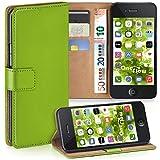 moex iPhone 4S | Hülle Grün mit Karten-Fach 360° Book Klapp-Hülle Handytasche Kunst-Leder Handyhülle für iPhone 4/4S Case Flip Cover Schutzhülle Tasche