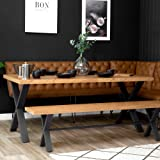 The Furniture Outlet Industrial Brown 90cm Studded Back Bench