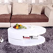 OSPI® High Gloss White Swivel Extendable Rotatable Coffee Table Storage Space W100xD60xH33cm