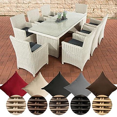 CLP Poly-Rattan Sitzgruppe FONTANA XL (8 Stühle + Tisch 200 x 90 cm), Premiumqualität: 5 mm RUND-Geflecht Bezug: Eisengrau, Rattan Farbe perlweiß